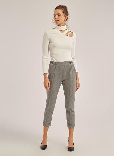 Monamoda Beli Lastikli Kaz Ayağı Desen Duble Paça Pantolon Siyah